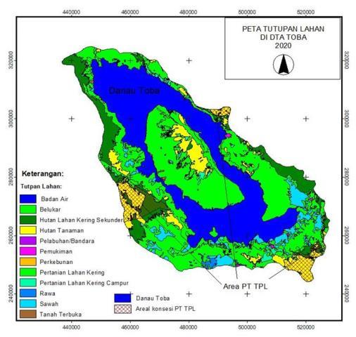 Gambar 1. Tutupan lahan di DTA Toba dan areal konsesi PT Toba Pulp Lestari (TPL)